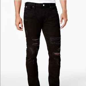 Guess Slim-Fit Tapered Stitch Ripped Stretch Jeans
